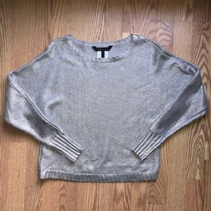 Bcbg metallic silver sweater